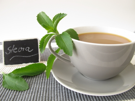 Café au lait with stevia and nameplate photo