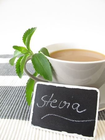 Caf� au lait with stevia and nameplate photo