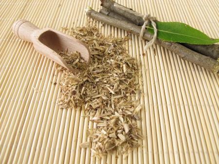 medicinal herbs: Loose tea from willow bark Stock Photo