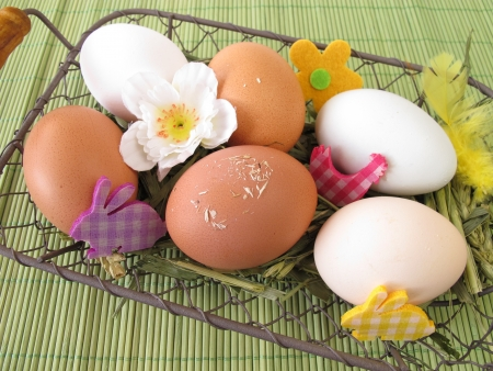Eggs in natural white, brown and green colors in easter basket Stock Photo - 17814280