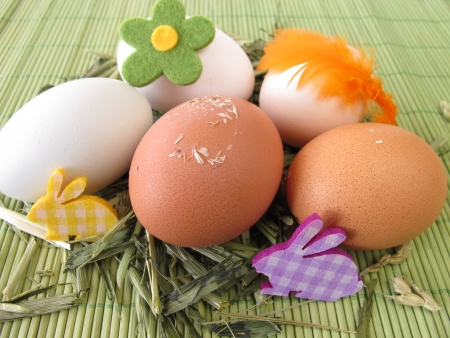 Natural colored eggs in easter nest Stock Photo - 17948809