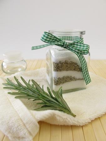 bath salts: Bath salts with rosemary