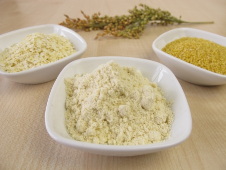 Millet flour, millet grains and rolled millet