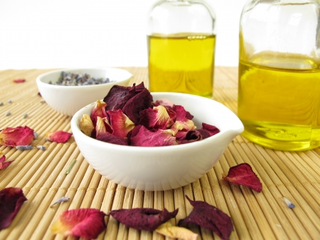 massage oil: Massage oil with lavender and rose Stock Photo