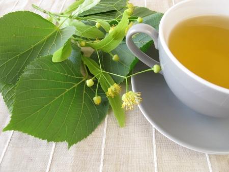 linden tea: Linden flowers tea Stock Photo