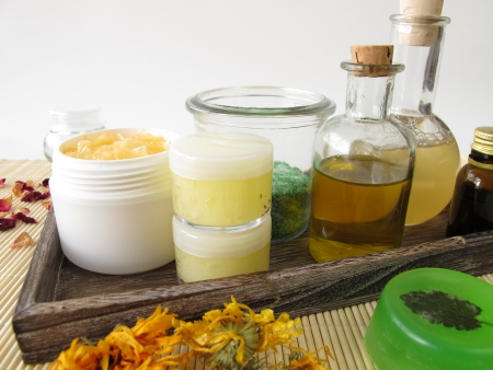 ingredient: Ingredients and utensils for homemade cosmetics