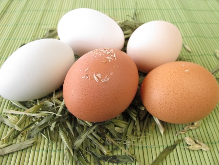 varying: Natural colored eggs in straw
