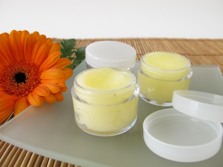 Lippenbalsem met honing Stockfoto