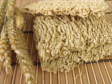 mie noodles: Mie noodles and wheat ears  Stock Photo
