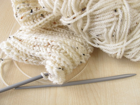 cable stitch: Knitted in cream white Stock Photo