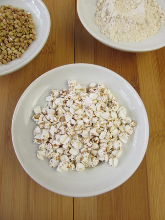 puffed: Buckwheat, wholemeal buckwheat flour and puffed buckwheat Stock Photo