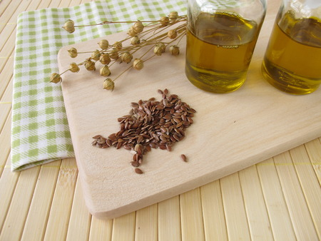 linseed oil: Linseed oil in small bottles  Stock Photo