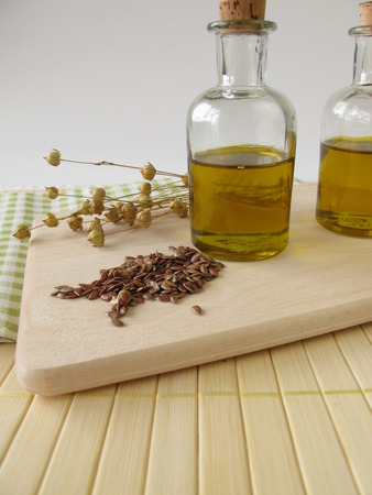 Linseed oil in small bottles  photo