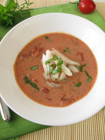 alaska pollock: Tomato cream soup with fish