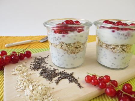 Ontbijt met yoghurt, chia zaden, havermout en bessen