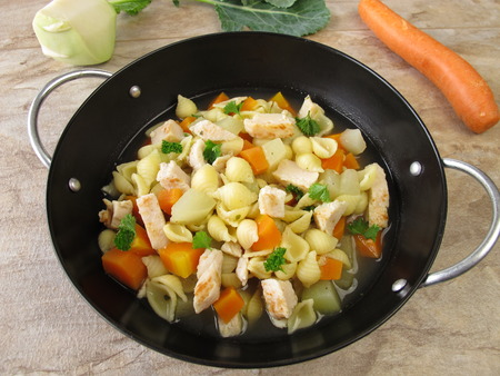 meatless: Pasta pot with vegetables Stock Photo