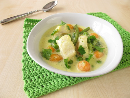 alaska pollock: Fish soup with vegetables
