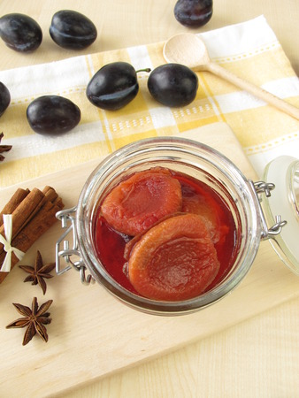 compote: Plum compote in jar