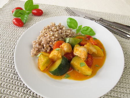 alaska pollock: Vegetables with fish and buckwheat