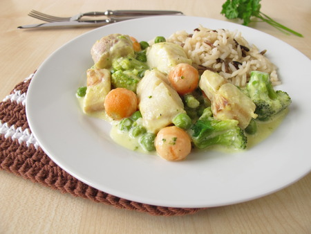 alaska pollock: Rice with fish and vegetables in mustard sauce