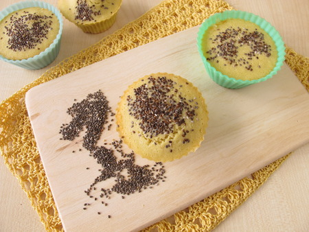 maize flour: Maize flour bread muffins with chia seeds Stock Photo