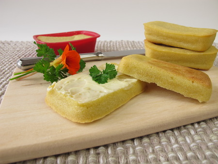 maize flour: Mini-breads from maize flour with butter Stock Photo