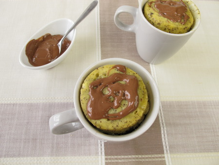 chocolate icing: Mug Cake with poppy-seeds and chocolate icing Stock Photo
