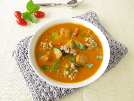 alaska pollock: Vegetable soup with fish and buckwheat