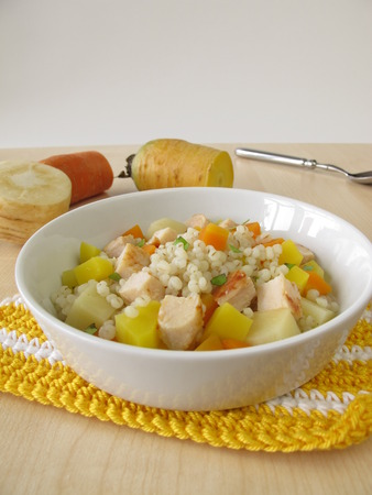 pearl barley: Vegetables with pearl barley and chicken