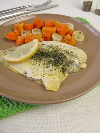 plaice: Steamed plaice on vegetables
