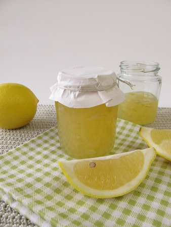 pectin: Lemon marmalade in jar Stock Photo
