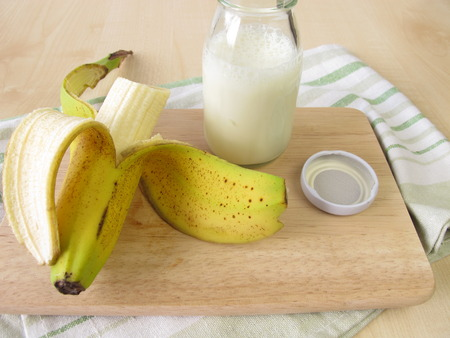kefir: Bottle of kefir with banana