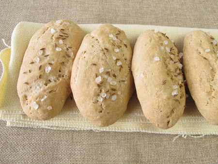 caraway: Small salt and caraway breads Stock Photo