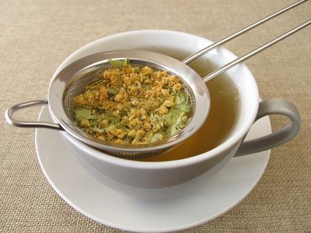 tilia: Tilia flowers tea in tea strainer