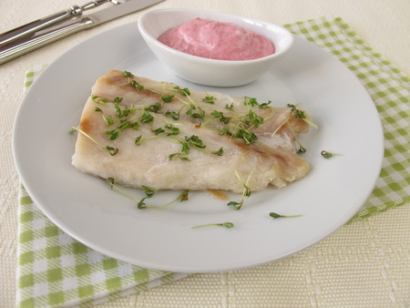 horseradish sauce: Perch fillet with beetroot and horseradish sauce Stock Photo