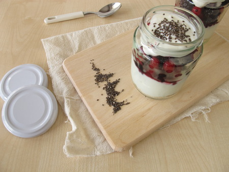 strained: Trifle dessert with strained yogurt, berries and chia seeds