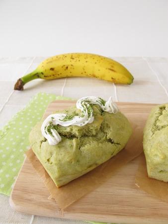glaze: Matcha banana cake with candy glaze