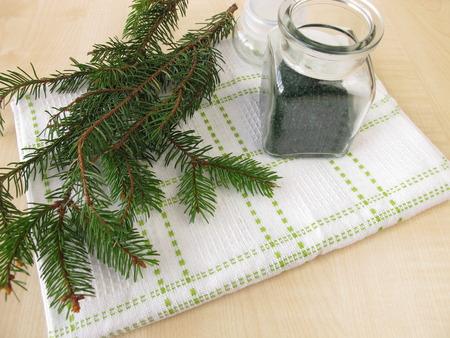 bath additive: Spruce needles bath salt Stock Photo