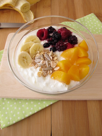 soured: Soured milk with fruits, cereals and chia seeds