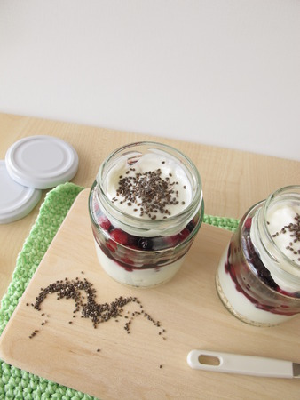trifles: Yogurt with berries and chia topping