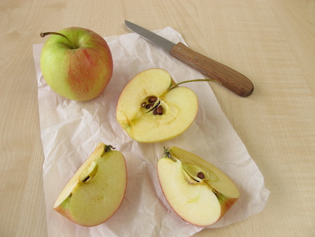 enzymes: Apple halves with brown coloring