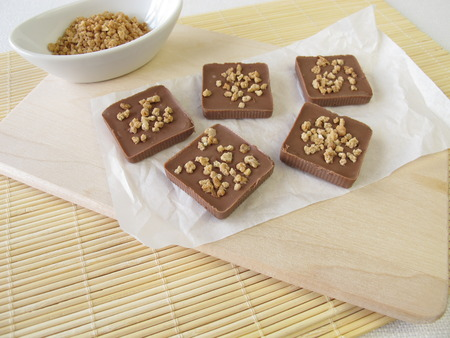 brittle: Homemade chocolate with almond brittle