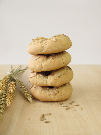 bagels: Stacked bagels