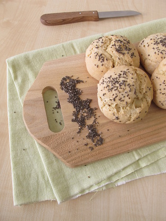 roughage: Rolls with chia seeds Stock Photo
