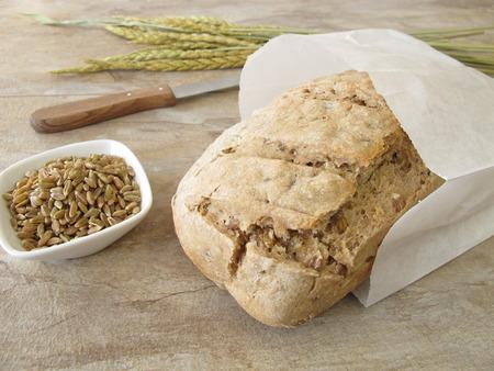 bolsa de pan: Verde hecho en casa pan deletreado en bolsa de papel