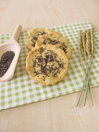 spelt: Spelt cookies with chia seeds Stock Photo