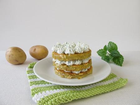 layered: Layered potato pancakes with cream cheese