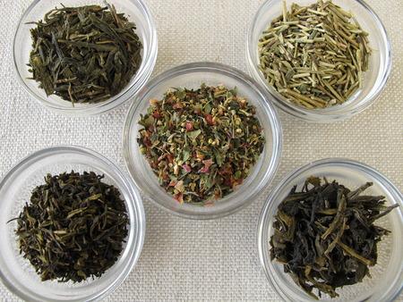 varieties: Green tea varieties Stock Photo