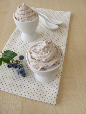 egg cup: Blueberry ice cream in egg cup Stock Photo