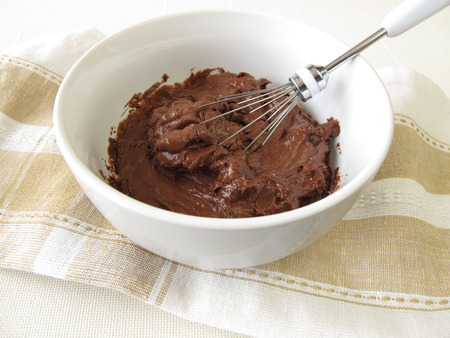 stirred: Fresh stirred chocolate cream in bowl